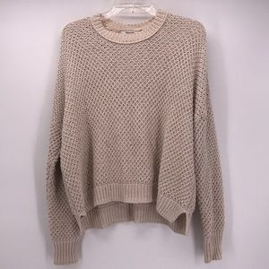 MADEWELL TAN CREW NECK KNIT OVERSIZED SWEATER